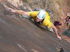 Rock Climbing Photo: Bill nicely utilizing the twin cracks of the route...