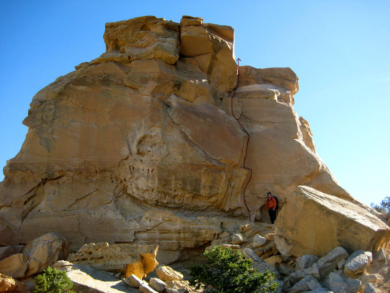 Rock Climbing Photo: Andrew at the base of the route (which is drawn in...