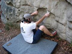 Rock Climbing Photo: Sit start to bum boy. Not Making it easier!