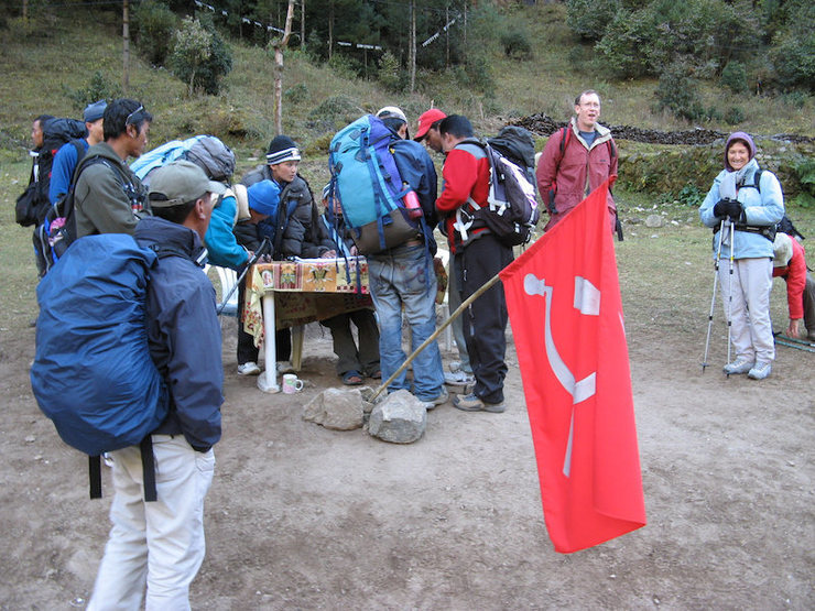 """Maoist rebels levying their own bridge toll on the way to Namche Bazaar.  """"None shall pass.""""  """"What?""""  """"NONE shall pass!""""  """"I have no quarrel with you, good Sir Knight, but I must cross this bridge.""""  """"Then you shall die.""""  (Black Knight and Arthur, king of the Britons)"""