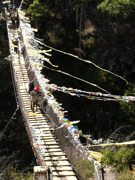 One of the many bridges crossing the Khumbu river.