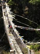 Rock Climbing Photo: One of the many bridges crossing the Khumbu river.
