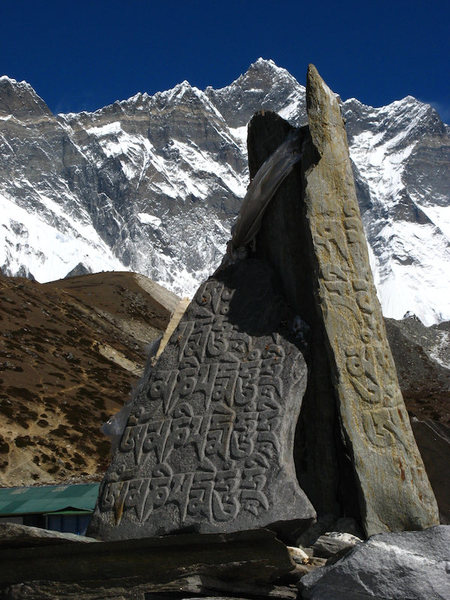 Prayer stones.  South face of Lhotse and Lhotse Shar in background.