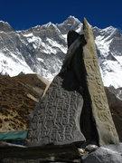 Rock Climbing Photo: Prayer stones.  South face of Lhotse and Lhotse Sh...