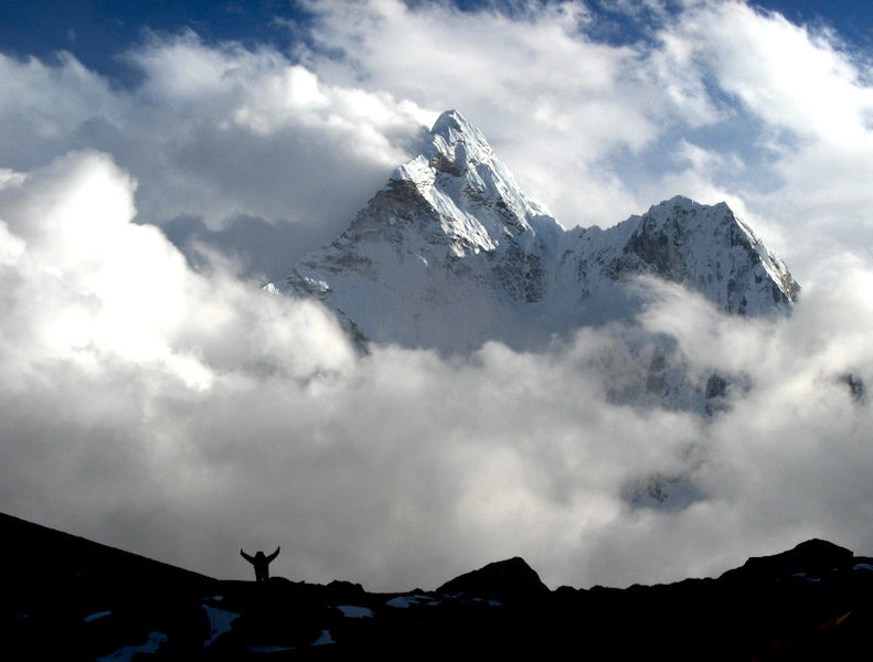 North face of Ama Dablam - taken on approach to Kongma La.
