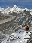 Rock Climbing Photo: North Ridge of Pokalde, with Khumbu glacier and Pu...
