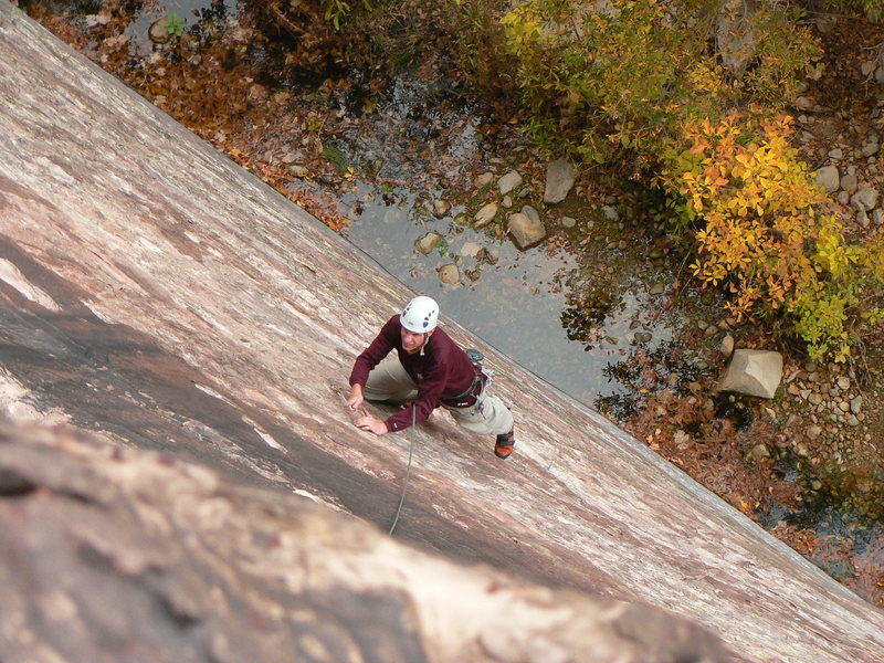 Rock Climbing Photo: Starting up the first pitch on the slabby 5.5 sect...