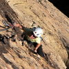 Great climbing on the fifth pitch where the rock becomes more varnished and, thus, more featured and easy.