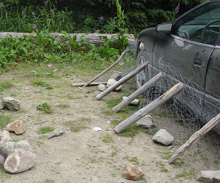 Rock Climbing Photo: Porcupine-proofing the car.