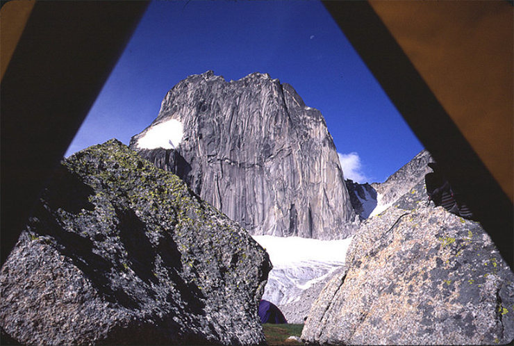 View out the front door of the tent -  Snowpatch Spire.