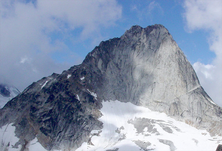 Bugaboo Spire.  Left skyline is Kain Route; right skyline is North-East Ridge.