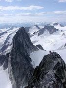 Rock Climbing Photo: Bugaboo Spire traverse - descending Kain Route.
