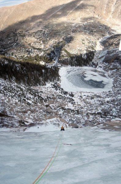 Rock Climbing Photo: Dan follows the enduro-slabs at the top of West Gu...