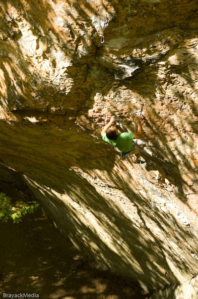 Rock Climbing Photo: Paul pulling through the last section before the c...