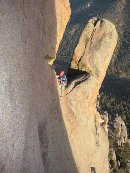 Yet another Boulder climber on their descent.