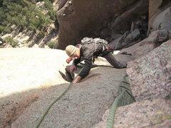 Rock Climbing Photo: Aaron Quinlisk cruising the stellar first pitch.