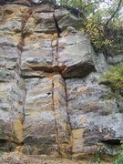 Rock Climbing Photo: These two cracks have been climbed and the left cr...