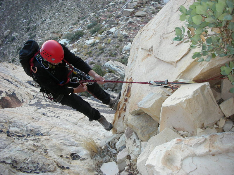 Rock Climbing Photo: The horrible rappel stance down the gully!