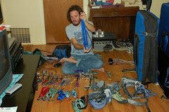 Rock Climbing Photo: Organizing gear for a climb in the Flatirons.