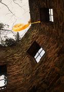 Rock Climbing Photo: Susan, falling down an old well house in Georgia