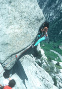 Rock Climbing Photo: Merrill Bitter on a successful ascent, early 1980'...