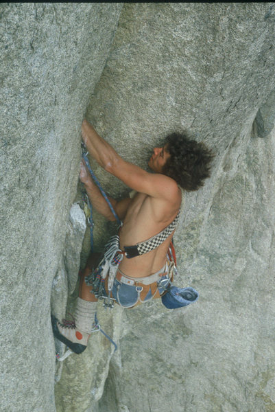 Rock Climbing Photo: The late Steve Carruthers (1980's) passing the fle...