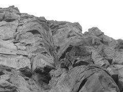 Rock Climbing Photo: Joel leading pitch 2
