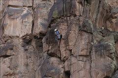 Rock Climbing Photo: Jay finishing Pitch 1 FA