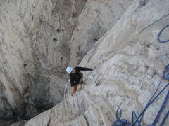 Rock Climbing Photo: Maura on pitch 3 . Nearing the junction with the S...