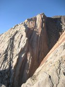 Rock Climbing Photo: Distant photo of same 200' groove with Scot ringed...