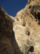 Rock Climbing Photo: Lance on the difficult pitch 2