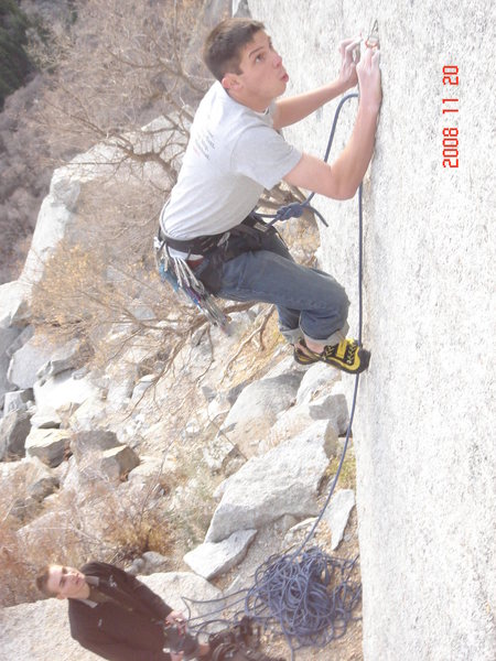 Rock Climbing Photo: Me on the 5-10 start.  Protected by a orange metol...