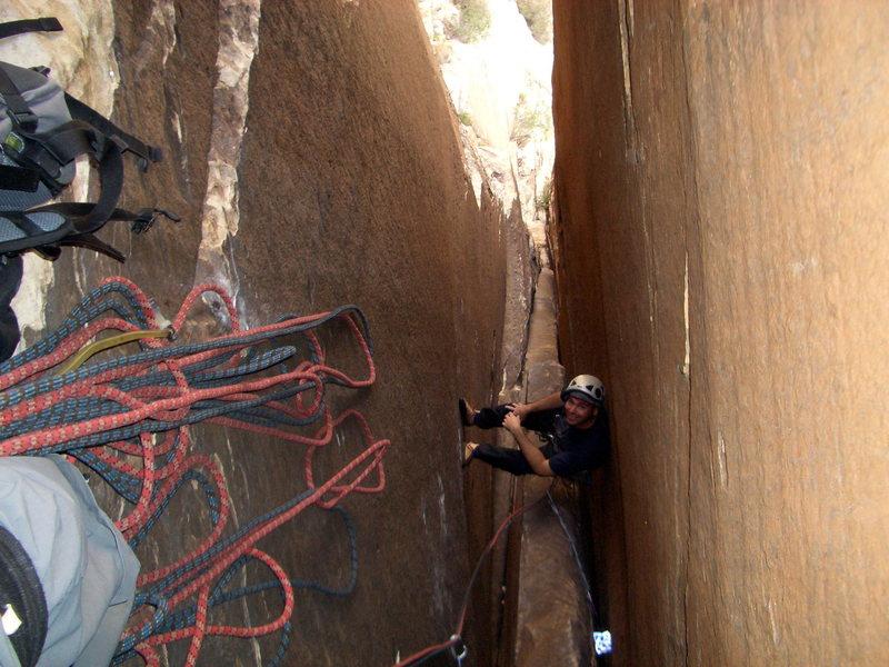 Rock Climbing Photo: Epinephrine Chimney - rest stop