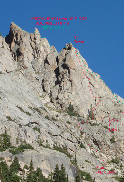 Arrowhead, Lower NE Ridge showing the routes Ripsaw and Sidewinder.  View is from the south.