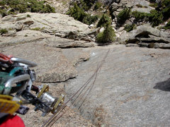 Rock Climbing Photo: View looking down pitch 2 from the belay on the FA...