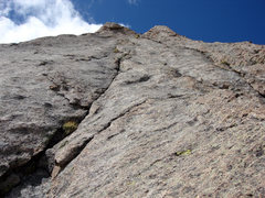 Rock Climbing Photo: View up the great finger crack of Picth 4 from the...