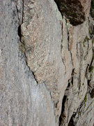 Rock Climbing Photo: View down the scalloped dihedral of pitch 2.