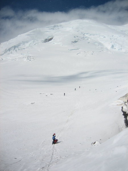 Descent, looking back up at Rainier as I made the entrance onto the Inter glacier.