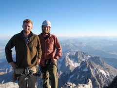 Rock Climbing Photo: Summit of Grand Teton with Middle Teton in the bac...