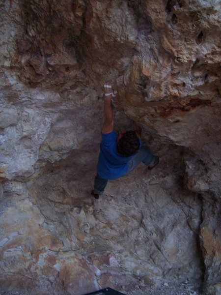 An unfinished high ball boulder problem at owl rock