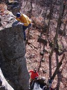 Rock Climbing Photo: Rhoads topping out.