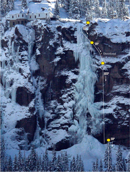 This is the new descent route as of December 1, 2008. The agreement allows climbing of Bridalveil only if the climbers descend down the the line of new anchors to the right of the falls.