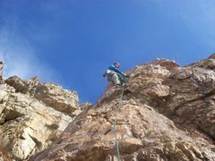 Rock Climbing Photo: Nearing the top of P3. Such cool rock with lots of...