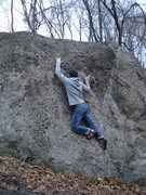 Rock Climbing Photo: Blake slithering his way up the problem.