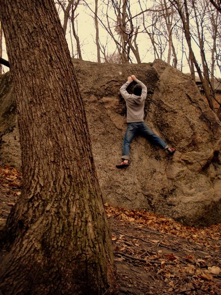 Rock Climbing Photo: Blake matching on the crimp in 25 degree weather.