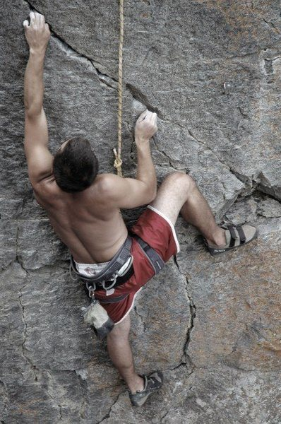 Robert going through the crux