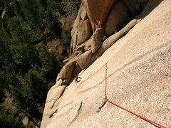 Rock Climbing Photo: At the first bolt of El Supremo's 5.10 pitch, 2:00...