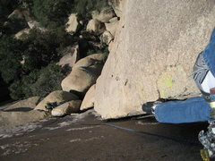 Rock Climbing Photo: Second pitch layback, Meghan belaying after swappi...