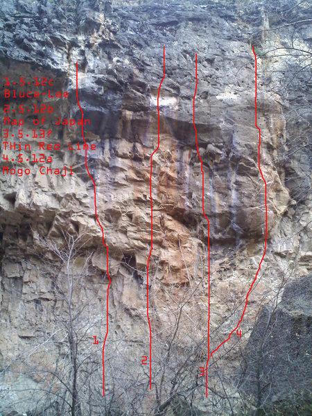 Rock Climbing Photo: TOPO. Main wall far right side.