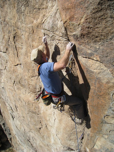 Rock Climbing Photo: Just prior to losing the battle with gravity.  Pho...
